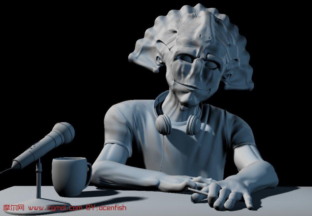 超帅高品质纹理贴图贝壳人maya模型高清图片