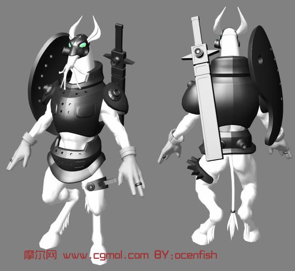 精致马面人身怪兽maya模型