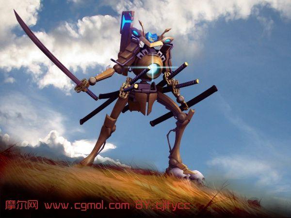 机器人设计,maya/3ds max 建模   机器人武士maya模型,机械高清图片