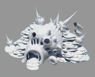 Q版梦幻诛仙琉璃岛上的海螺屋maya模型