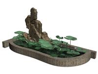 假山,水池,荷花池3d模型