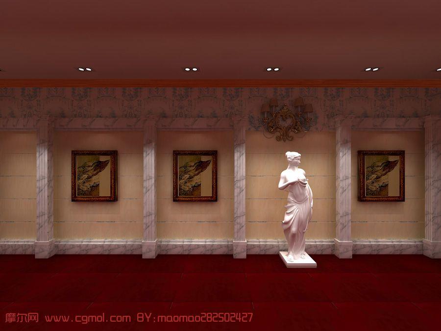 欧式过道效果图  (1024x768); 摩尔网 室内模型 整体效果 过道,艺术