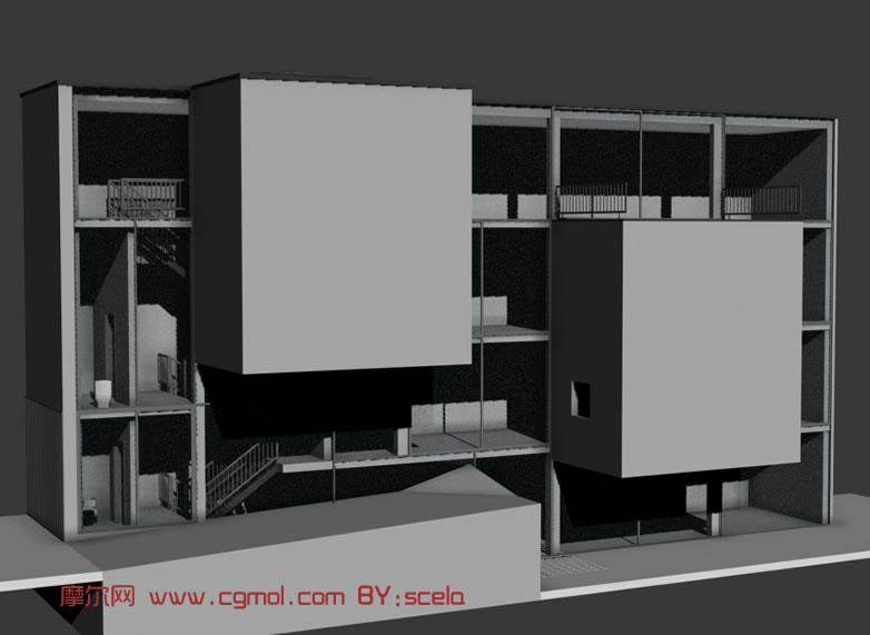 未完工的大楼,现代建筑3D模型