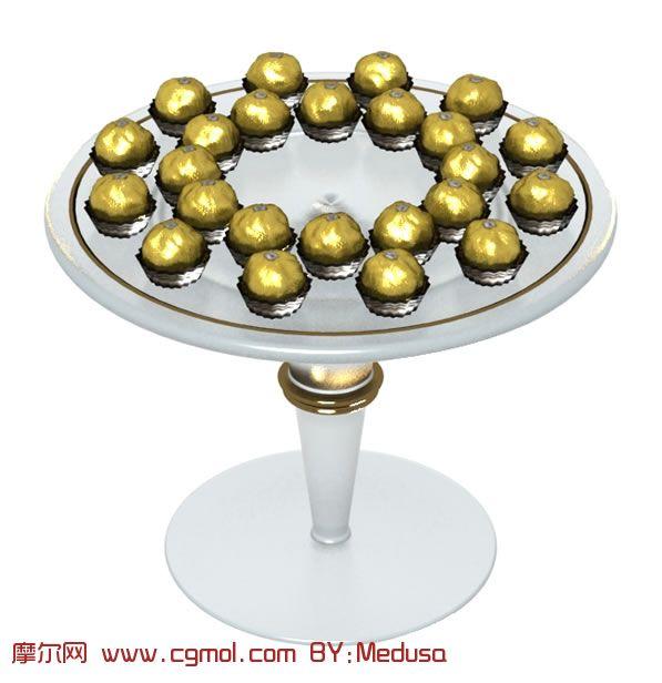 圆桌,巧克力,巧克力球3D模型