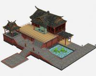 游戏中的古代建筑场景3D模型
