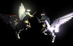 黑白独角兽,天马maya模型