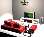 现代简装客厅3D模型
