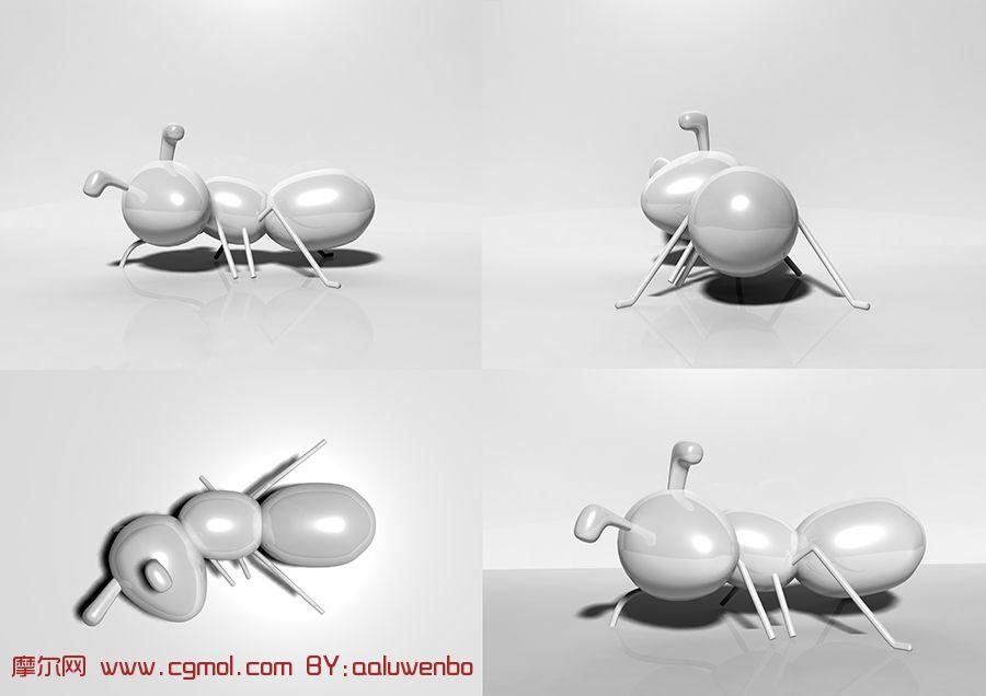 扭头看的蚂蚁3D模型