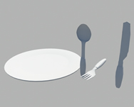 刀,叉子,勺子,盘3d模型