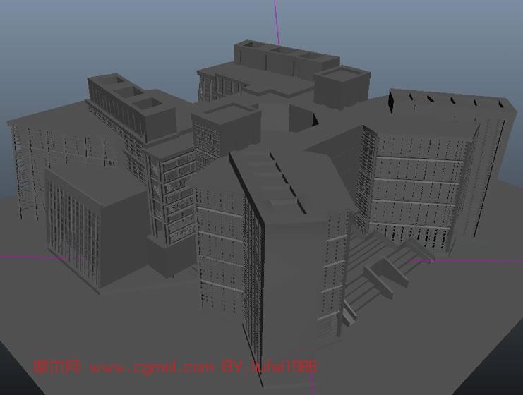 图书馆 maya现代建筑模型 高清图片