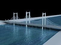 大桥鸟瞰,吊桥3D模型