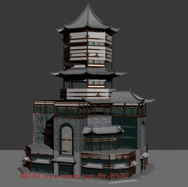 昌南阁,古建亭子,古代凉亭3D模型 中式建筑 建筑模型
