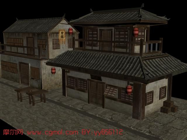古代客栈酒楼酒店3d模型_中式建筑_建筑模型_3d模型图片