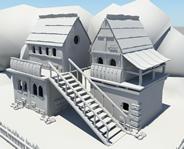 带阁楼的双层建筑maya模型