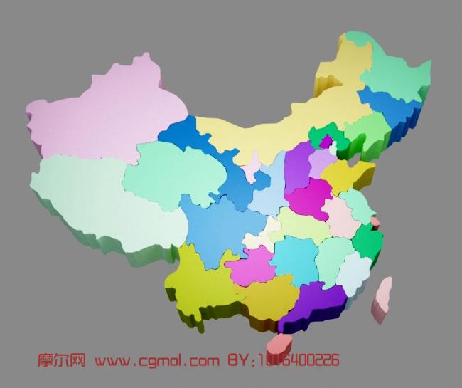 中国地图3d模型