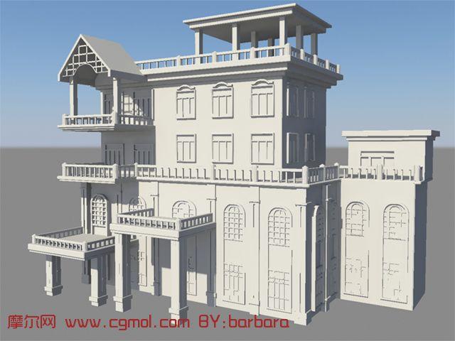 欧式建筑,别墅,房屋maya模型