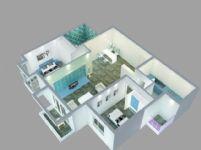 现代简约室内布局图,鸟瞰图3D模型