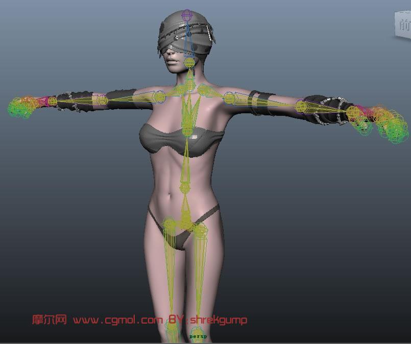 美女角色3d模型 动捕骨骼hik控制器