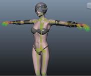 美女角色3D模型,动捕骨骼HIK控制器