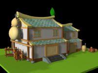 卡通版房子,Q版房子3D模型