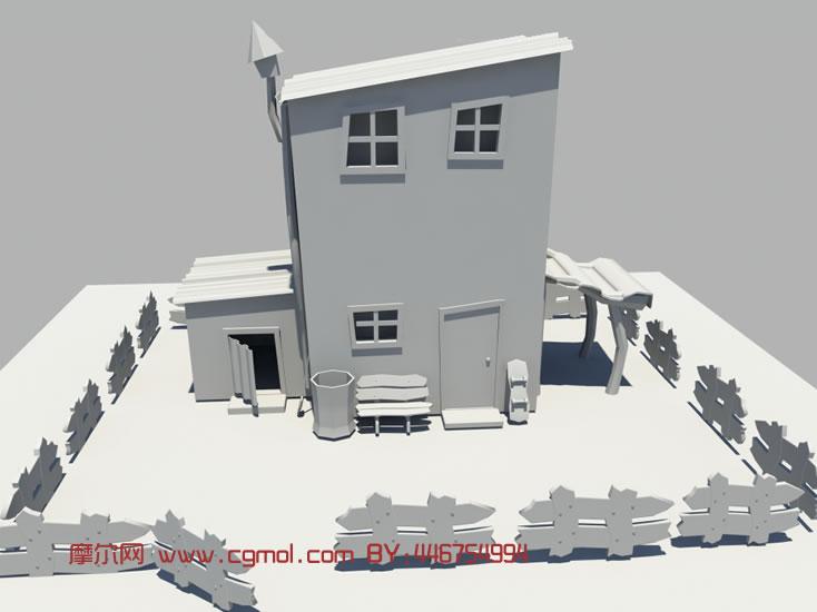 卡通房子 民房 民宅maya模型高清图片