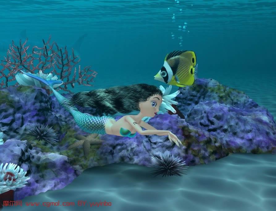 动画 美人鱼/关键词:美人鱼海底世界鱼动画maya