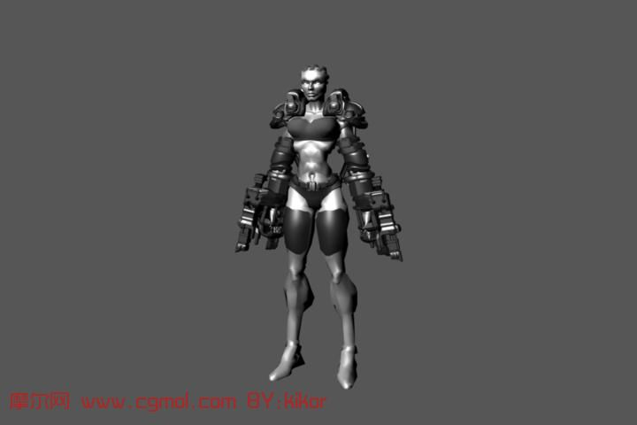 全武装女人 机器人maya模型高清图片