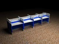 成组的办公桌3D模型
