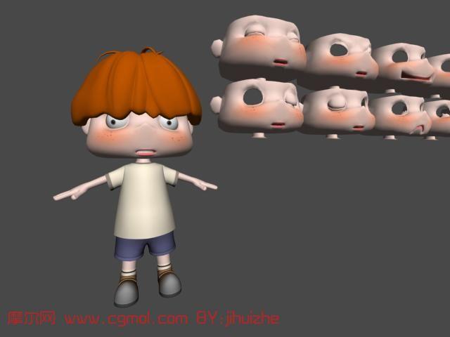 卡通男孩3d模型(带表情)