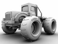大轮子拖拉机,汽车maya模型