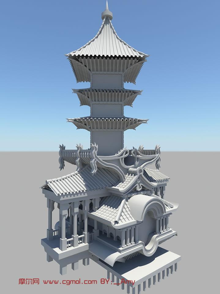 高塔,中式建筑,古代建筑3d模型图片