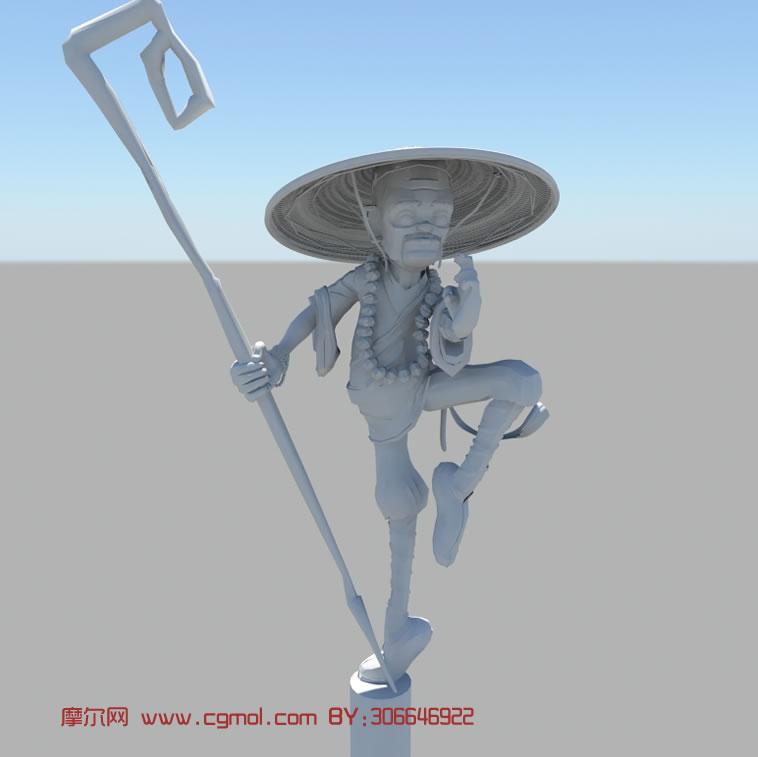 卡通功夫和尚maya模型