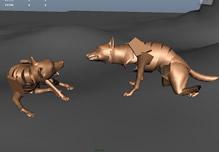 双狼争斗动画3D模型