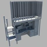 寝室书桌,电脑桌,床铺3D模型