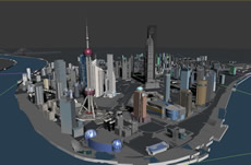 上海陆家嘴外滩,黄浦大桥,东方明珠,世贸大厦,3D建筑场景模型
