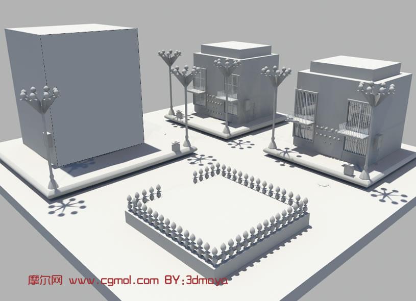城市场景街道3d模型
