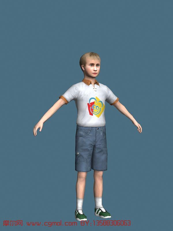 小男孩,现代人物3d模型