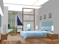 室内卧室灯光练习3D模型