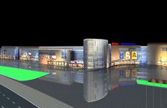 超市夜景,商场夜景效果图3D模型