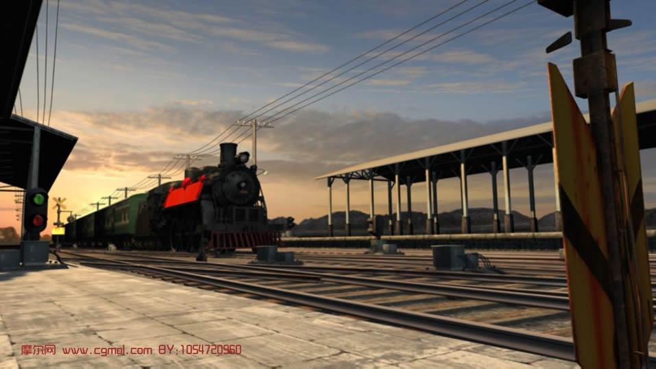 小火车站场景3d模型