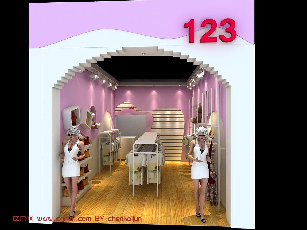女装店面,服装店,店铺设计3d模型