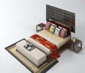 豪华中式大床3D模型