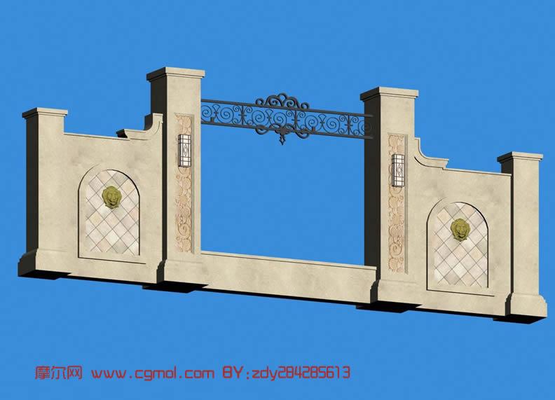欧式景墙3d模型,现代场景
