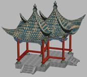 双亭,亭子,园林建筑3D模型