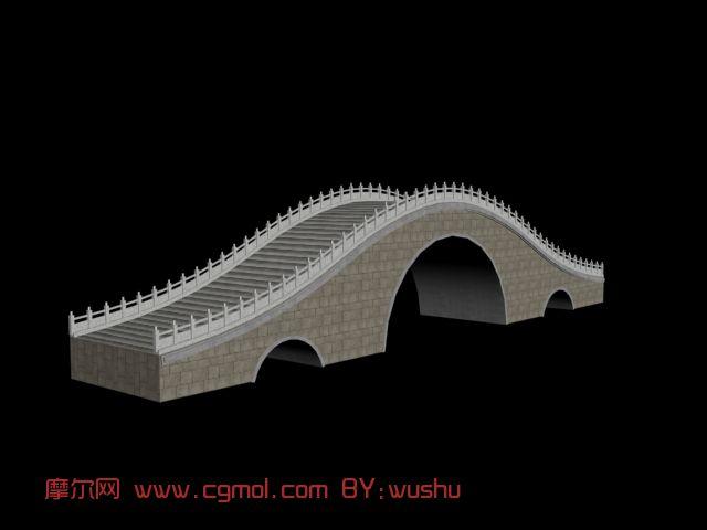 中式石拱桥,古代建筑3d模型