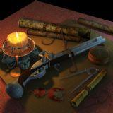 蜡烛,地图,火枪,指南针,挂坠,钳子,测量仪,圆规,静物maya模型