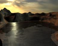 落日下的湖泊,自然场景3D模型