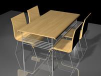 室内厨房餐桌3D模型