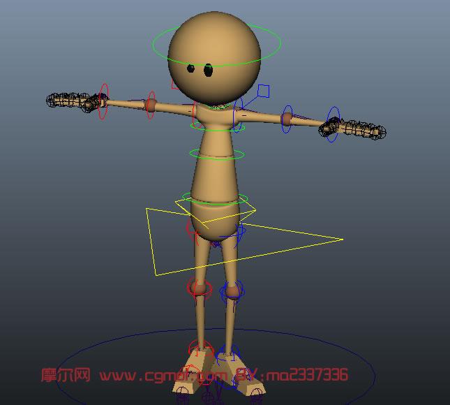 很经典的小黄人,maya绑定模型 卡通角色 动画角色高清图片