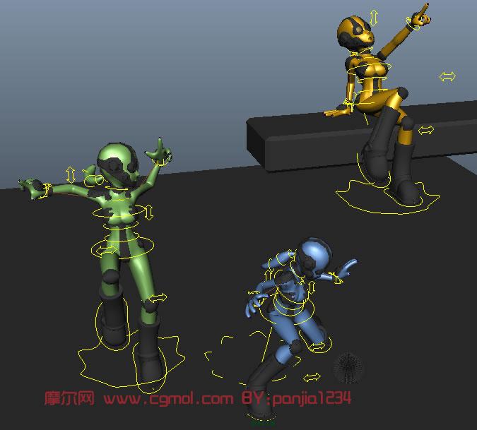 小女孩机器人maya模型